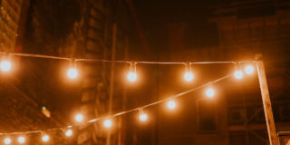 The lights in our new outdoor seating area by Bethan Miller